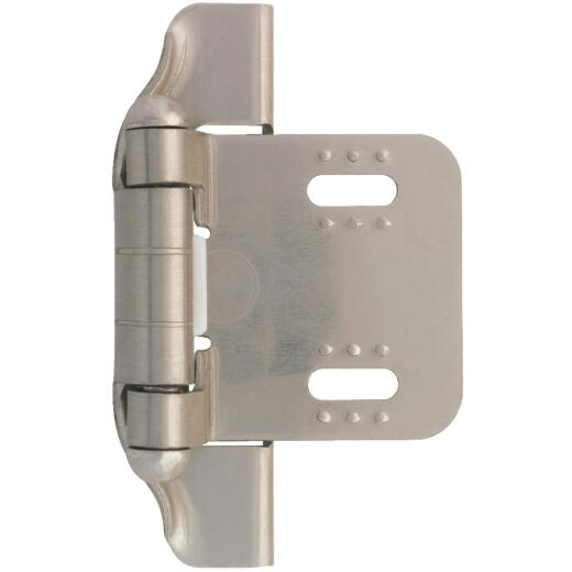 Liberty 1/4 In. Satin Nickel Self-Closing Semi-Wrap Overlay Hinge (2-Pack)