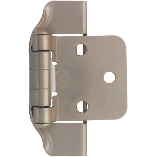 Liberty 1/2 In. Satin Nickel Self-Closing Semi-Wrap Overlay Hinge (2-Pack)