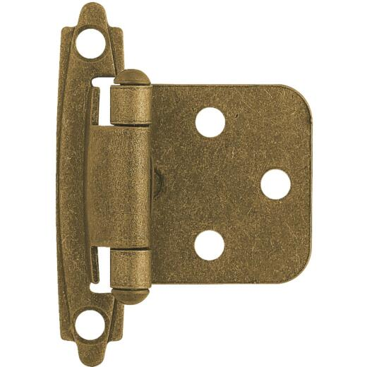 Liberty Antique Brass Self-Closing Overlay Hinge (2-Pack)