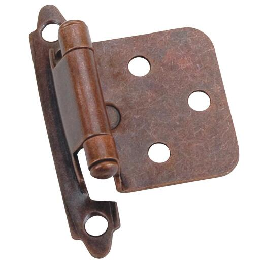 Laurey Venetian Bronze Self-Closing Overlay Hinge with Zinc Screws (2-Pack)