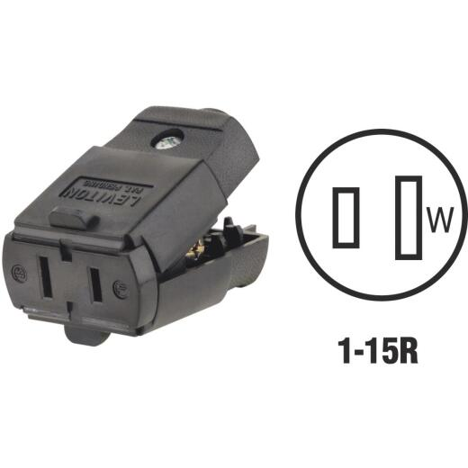 Leviton 15A 125V 2-Wire 2-Pole Hinged Cord Connector, Black