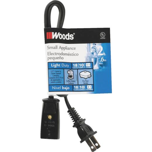 Woods 2 Ft. 18/2 10A Mini Plug Appliance Cord