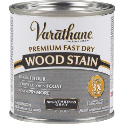 Varathane Fast Dry Weathered Gray Urethane Modified Alkyd Interior Wood Stain, 1/2 Pt.