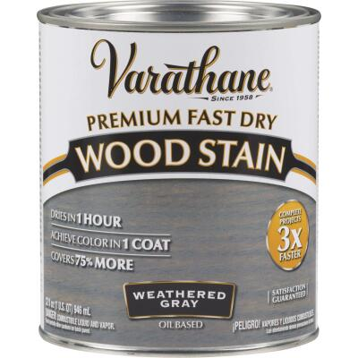 Varathane Fast Dry Weathered Gray Urethane Modified Alkyd Interior Wood Stain, 1 Qt.
