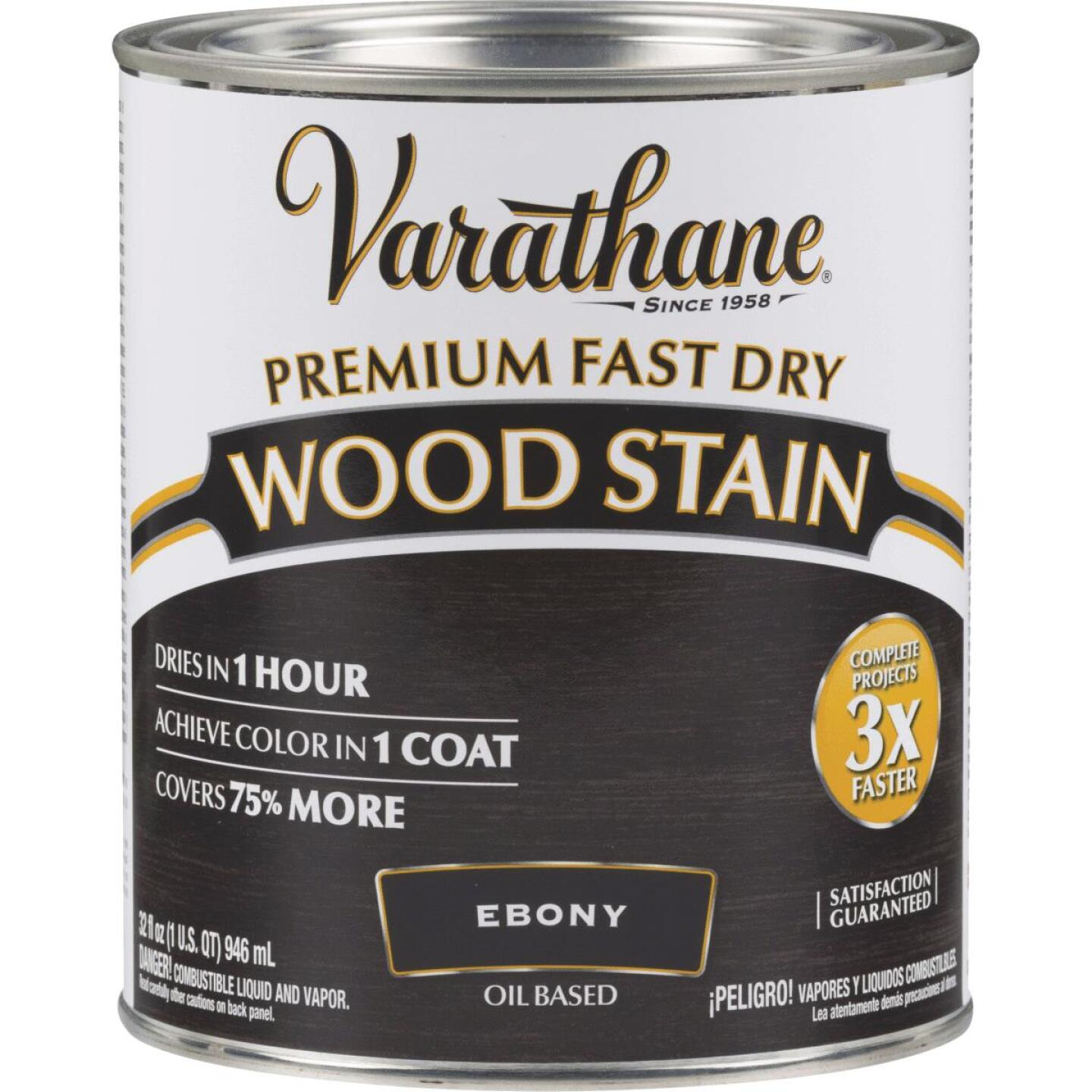 Varathane Fast Dry Ebony Wood Urethane Modified Alkyd Interior Wood Stain, 1 Qt. Image 1
