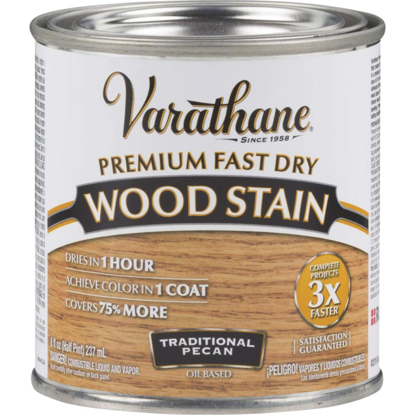 Varathane Fast Dry Traditional Pecan Urethane Modified Alkyd Interior Wood Stain, 1/2 Pt. Image 1