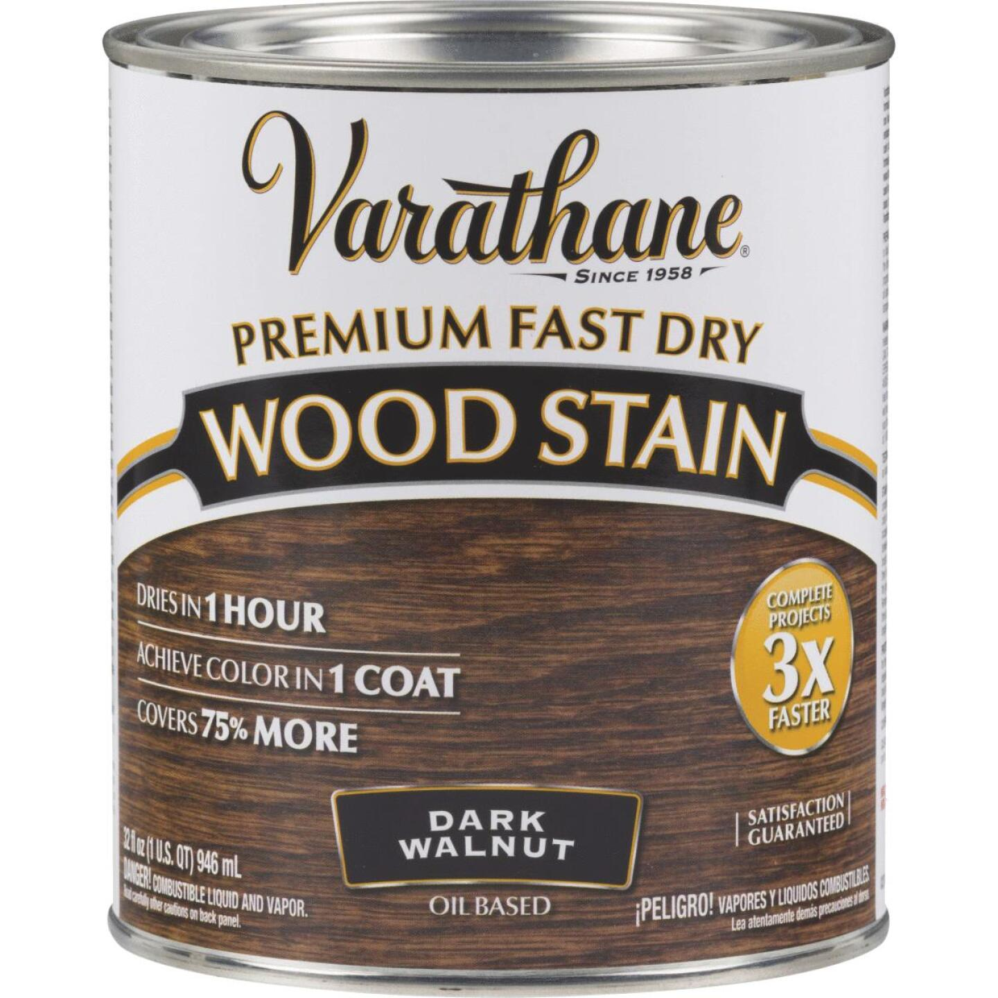 Varathane Fast Dry Dark Walnut Urethane Modified Alkyd Interior Wood Stain, 1 Qt. Image 1