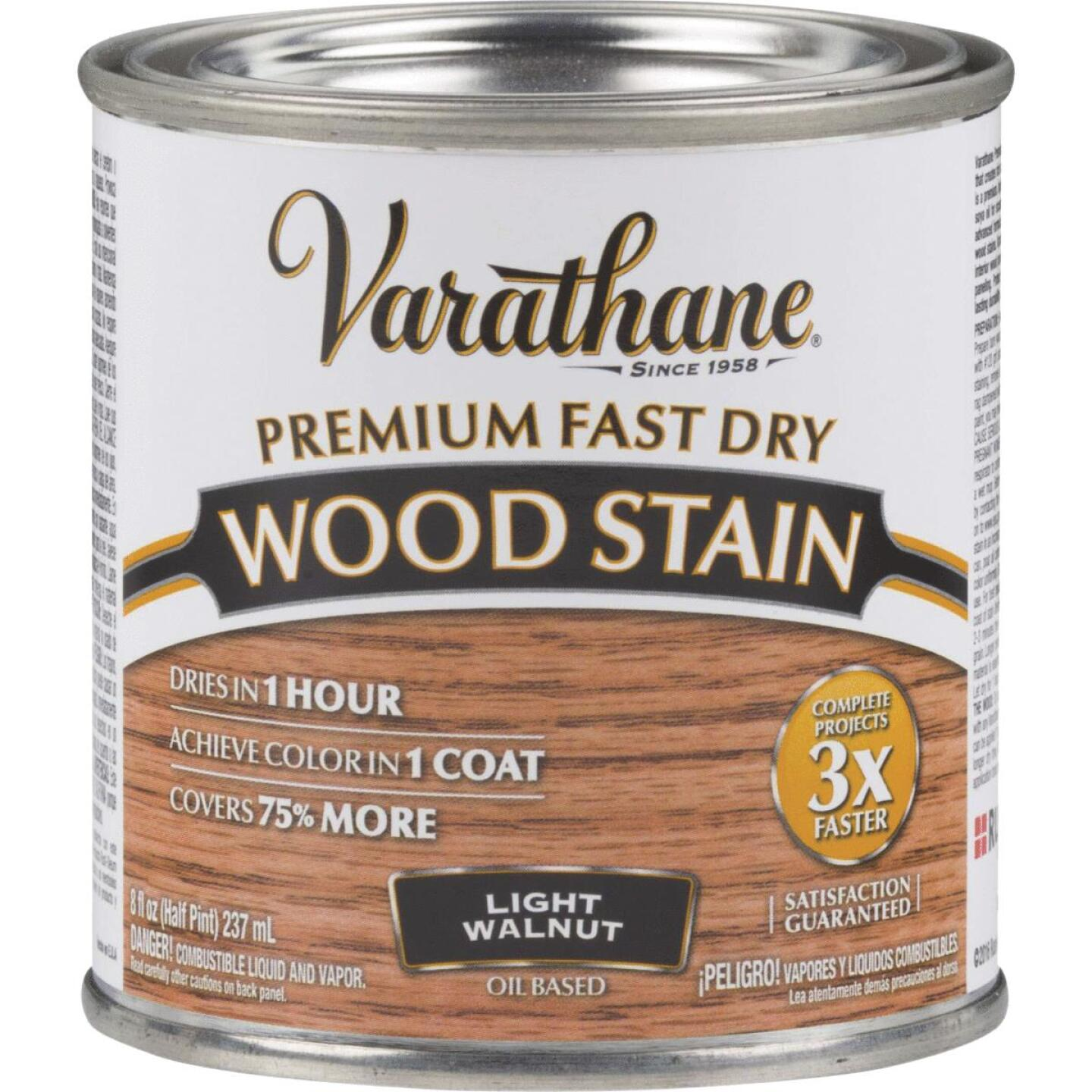 Varathane Fast Dry Light Walnut Urethane Modified Alkyd Interior Wood Stain, 1/2 Pt. Image 1