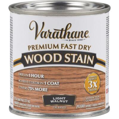 Varathane Fast Dry Light Walnut Urethane Modified Alkyd Interior Wood Stain, 1/2 Pt.