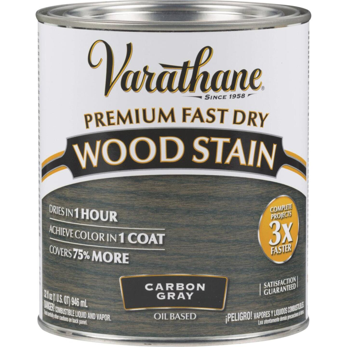 Varathane Fast Dry Carbon Gray Urethane Modified Alkyd Interior Wood Stain, 1 Qt. Image 1