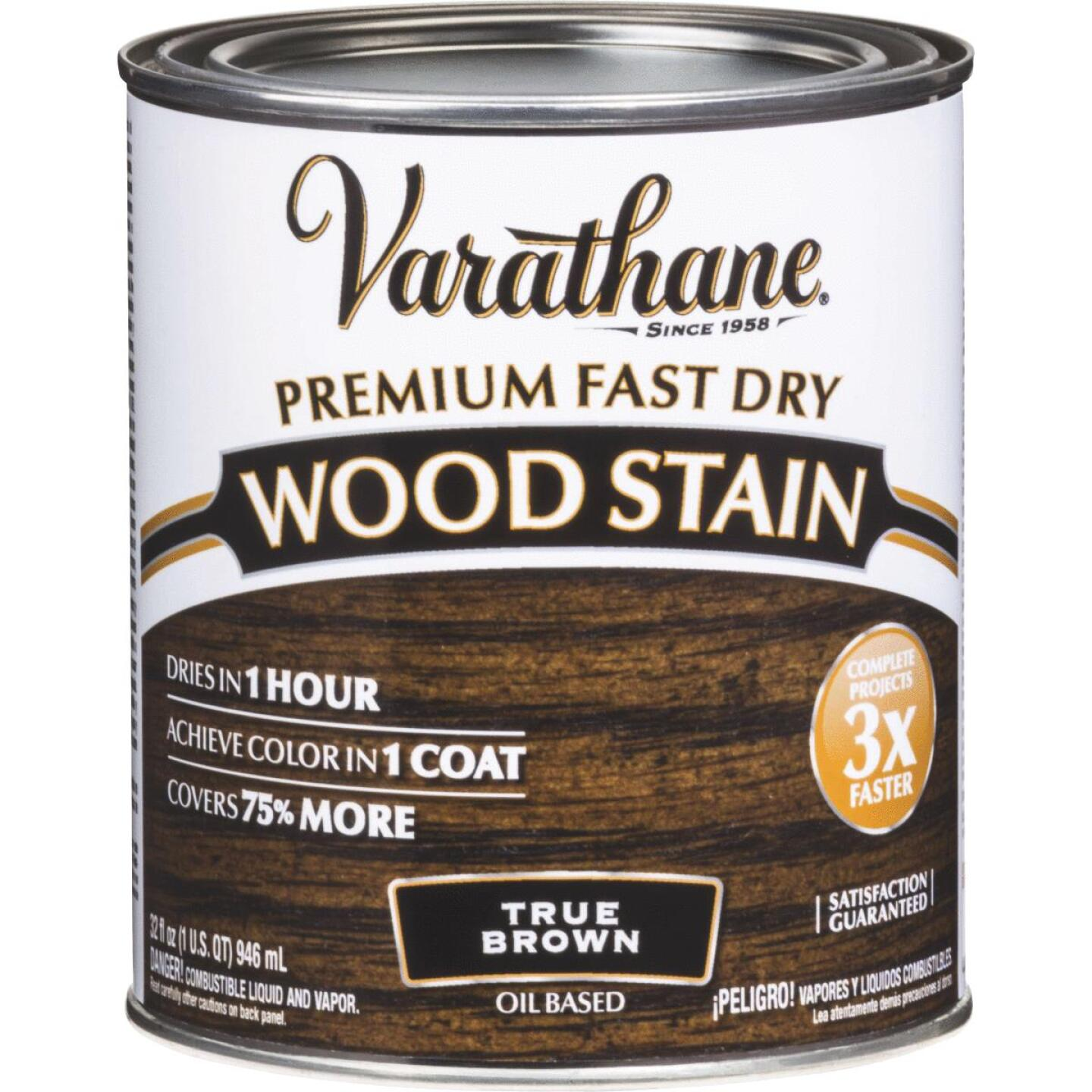 Varathane Fast Dry True Brown Urethane Modified Alkyd Interior Wood Stain, 1 Qt. Image 1